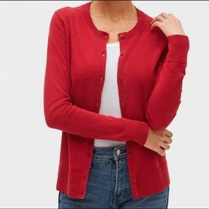 GAP red crewneck cardigan